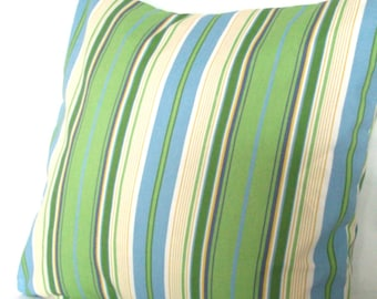 CLEARANCE 18x18 inch Blue and Green Throw Pillow Cover - Striped Decorative Toss Cushion Cover - Wide Spa Stripe
