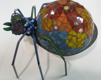 Stained Glass Mosaic Red, Orange and Blue Garden Spider