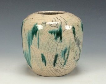 Crackle White and Green Drips Raku Ceramic Vase, Modern Home Decor, Turquoise Clay Bud Vessel