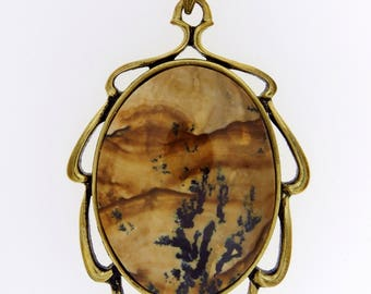 A Beautiful Biggs Jasper Pendant in an Antiqued Gold Plated Mounting with Curb Link Chain