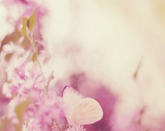 Surreal Photography, Nature Butterfly Pink Nursery Home Decor Magical Surreal Soft Dreamy Purple Print Art Still Life Nature Photo