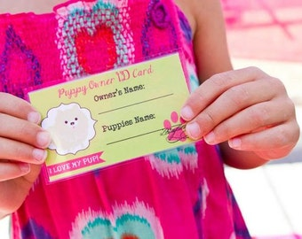 INSTANT download: Puppy Party -  Puppy Owner ID Cards - Printable PDF file
