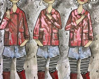 "Red Wellies Art Print 11"" x 14"""