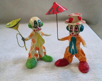 Colourful Pair of Paper Mache Clowns
