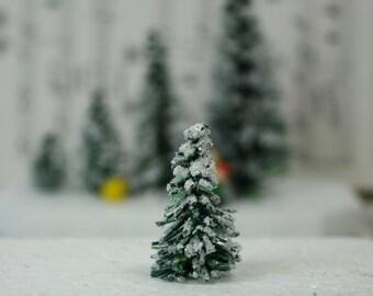 "Snowy Evergreen Tree - 1"" - Set of 5 miniature doll house tree miniature tree fairy garden diorama mini trees tree set - 218-0401"