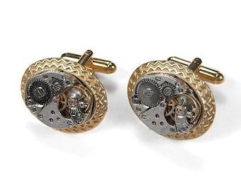Aztec Style Mens Watch Cufflinks Ruby Jewel Watch Cuff Links Gold Bezel AZTEC Wedding Anniversary Groom Fiancee Gift - Jewelry by edmdesigns