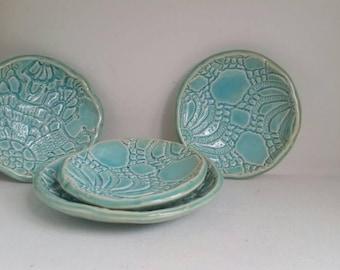 Sea Green Handmade Ceramic Spoon Rest and Jewelry Dish