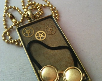 Goggles and Gears Brass Steampunk Necklace
