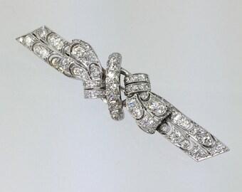 Edwardian Platinum Diamond Bar Pin - Vintage 1900s Antique Edwardian Diamond Brooch