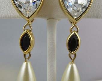 Vintage Swarovski Earrings Wedding Jewelry Signed Swan Logo Clear Crystal Pearl Dangle Earrings