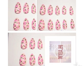 Lilly Rose | False Nails | Pink floral rose stiletto