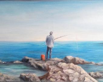 "REDUCED Oil Painting Man Fishing Seascape Ocean Rocks Original 12"" x 24"""