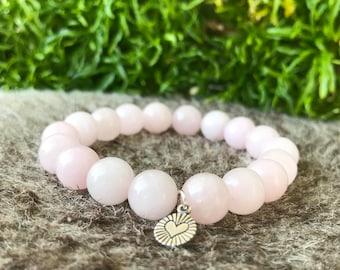 Rose Quartz Bracelet, Gemstone Bracelet, Natural Stone Bracelets, Healing Bracelet, Energy Bracelet, Heart Chakra Bracelet.
