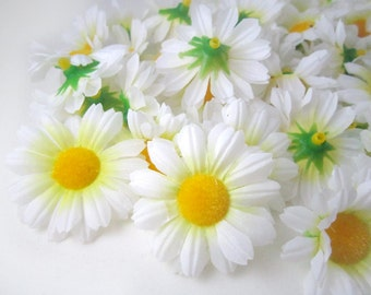100 White Gerbera Daisy Heads - Artificial Silk Flowers - 1.75 inches - Wholesale Lot - for Bridal Wedding work, Make Hair clips