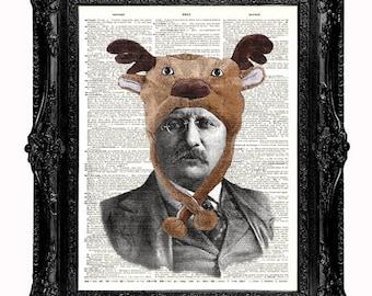 Teddy Loves Moose DICTIONARY art print Teddy Roosevelt art print upcycled vintage dictionary page book art print