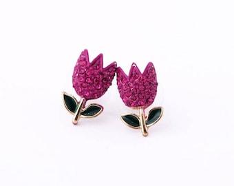 Flower Earrings, Tulip Earrings, Pink Earrings, Studs Sensitive Ears, Flower Stud Earrings, Statement Stud Earrings