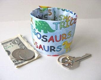 "Money Wrist Cuff - ""Secret Stash"" for Kids- Dinosaurs -Hide Your Cash in a Secret Inside Zipper"