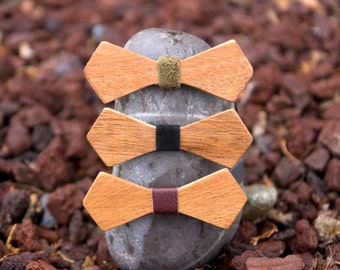 Mahogany Wooden Bow Tie - Diamond (3 leather color options)