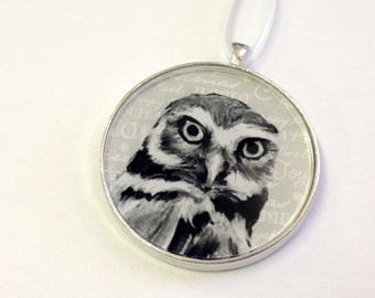 Ornament - Fauna Collection - Owl  (Packaged) - Original artwork - Original artwork with Holiday themed background
