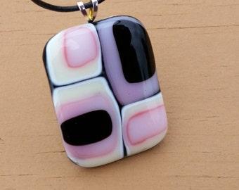 Retro Pink Fused Glass Pendant