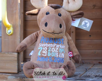 Personalized Moose, Embroidered Moose, Stuffed Moose, Birth Announcement