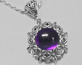 Necklace Amethyst Sterling Silver Genuine  Gift Vintage Chakra stone for Calm and peaceful