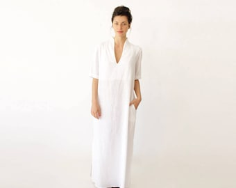 Short Sleeve Wedding Dress, Long White Dress, Bohemian Wedding Dress, Beach Wedding Dress, White Summer Dress, Plus Size Wedding Dress