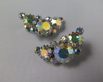 Weiss AB Rhinestone Curved Earrings