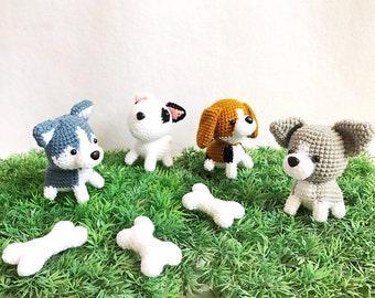 Crochet puppy gang Amigurumi, nursery decor, dog amigurumi, Siberian husky, Blueteria, Beagle, Chihuahua, toy, pretend play, dog doll, gift