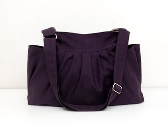 Handmade Bag Canvas Bag Diaper bag Shoulder bag Hobo bag Tote bag Messenger Purse Everyday bag  Dark Purple  Jamie