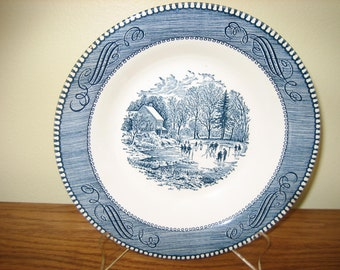 Currier And Ives Early Winter By Royal China, Soup Bowl, Winter Scene With Ice Skaters, Blue & White