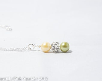 Lemon and Lime Pearl Rhinestone Necklace