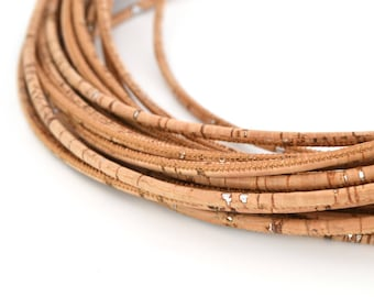 50 cm round 3 mm silver and natural color Cork cord