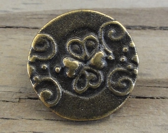"""10 Metal Buttons 3/4"""" - Antiqued Brass with Swirls & Hearts"""