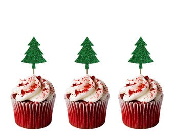 Christmas Tree Cupcake Toppers - Pack of 8 - Glittery Green