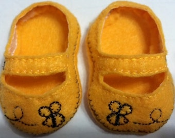 "Buzzing Bee Shoes for 18"" Doll machine embroidered and fits American Girl Dolls"
