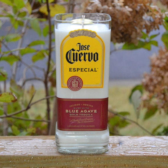 Jose Cuervo Especial Blue Agave Gold Tequila bottle candle made with soy wax