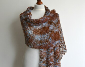 Multicolor hand knitted merino lace shawl brown blue scarf rectangular handmade