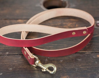 OxBlood Leather Dog Leash with Solid Brass Hardware, 5 feet long