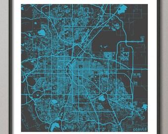 DENVER Map, Colorado, Giclee Fine Art, Modern Abstract, Poster Print, Wall Art, Home Decor, Decoration