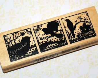 Bird Discover, Hope, Dream Rubber Stamp NEW - Wood, Wooden Mounted, Never Used, Inkadinkadoo