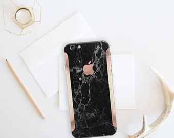 iPhone 8 iPhone 8 Plus iPhone X Black Marble and Rose Gold Edge Vinyl Skin Decal Minimalist