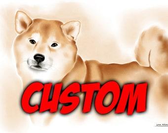 Custom watercolor digital pet portrait