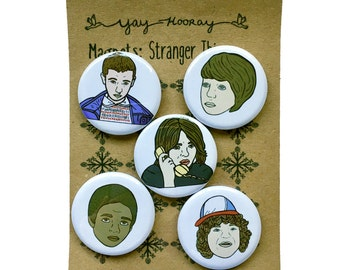 Stranger Things, pin button badges, magnets hand drawn illustrations, Eleven, Winona Ryder, Dustin Henderson, Lucas Sinclair, Mike Wheeler
