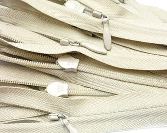 30 inch YKK Invisible Zipper Closed Bottom Off-White (10 zippers)~ZipperStop Wholesale Authorized Distributor YKK®