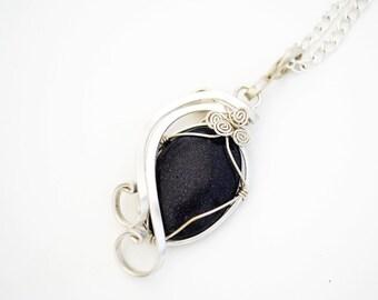 Aventurine pendant.  pendant aventurine. pendant stone Aventurine. Aventurine necklace. blue aventurine pendant