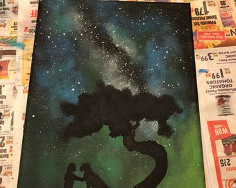A Girl and her Dog Silhouette Painting