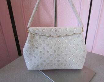 """1950s White Glass Beaded Handbag, """"Made in Hong Kong"""""""