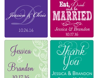 20 - 4 inch Custom Glossy Waterproof Wedding Stickers Labels - many designs to choose - change designs to any color, wording etc