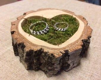 Ring Bearer Pillow Alternative, White Birch Slice, Woodland Wedding, Moss Ring Bearer Pillow, Country Wedding, Ring Bearer, Rustic Wood